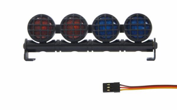 Car LED Signallicht 4-fach Alu Rund Rot/Blau Lichterleiste Traxxas Tamiya Jamara