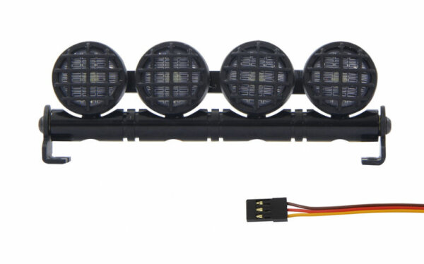 Car LED Signallicht 4-fach Alu Rund Weiß Lichterleiste Traxxas Tamiya Associated
