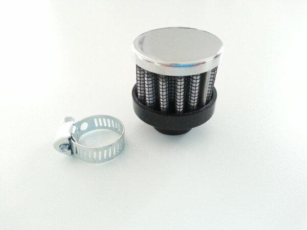 Chrom Luftfilter klein 35mm 14mm ähnl.K&N 1:8 Entlüftung Harley