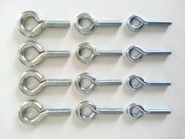 Eisengewindeösen 4 Stk. Verschiedene Größen M4 o.M5 o.M6 Gewindeösen Ösen