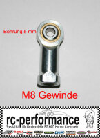 Stahlkugelgelenk M8 5mm Bohrung FG Marder rechts Gewinde...