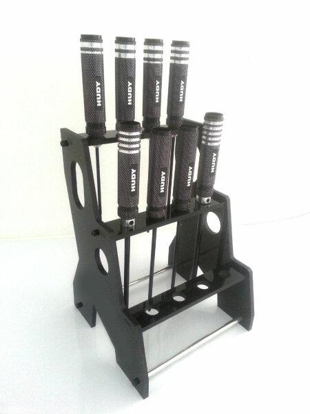 Hudy Werkzeug Set 6x Innensechskant 1x Schlitz 1x Kreuz Schraubenzieher incl. Ständer