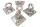 4x Edelstahl Deckenhaken Wandhaken Augplatte - D8 x 50 x 50mm 50 Shades of Grey