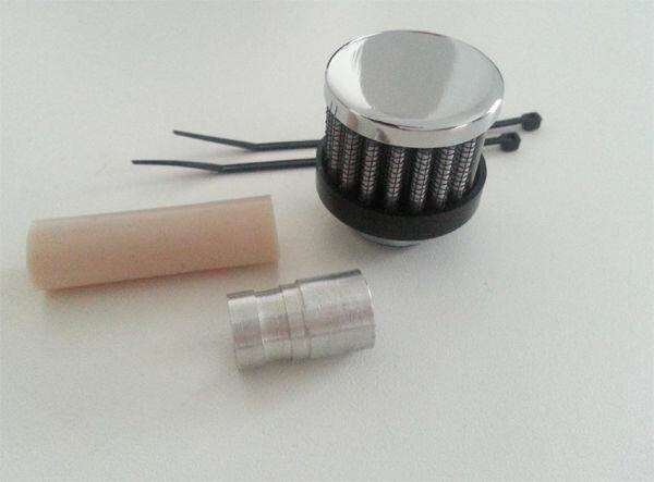 Chrom Luftfilter + Alu Adapter klein 35mm 15mm ähnl.K&N 1:10 Entlüftung Harley