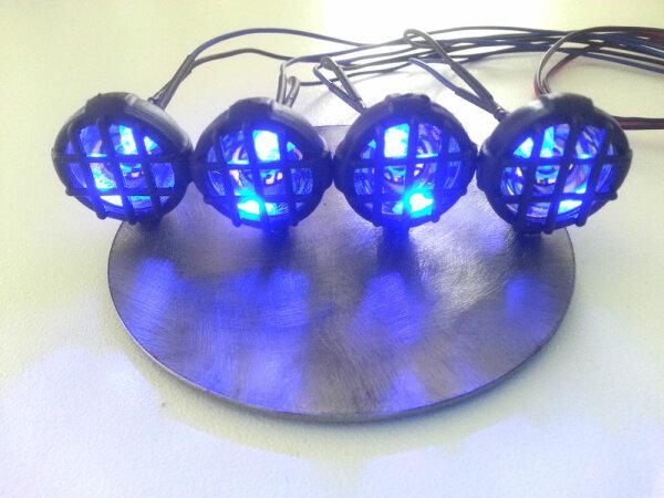 Led Scheinwerfer 4-fach versch. Farben Lichterleiste Traxxas Tamiya Jamara LED´s blau