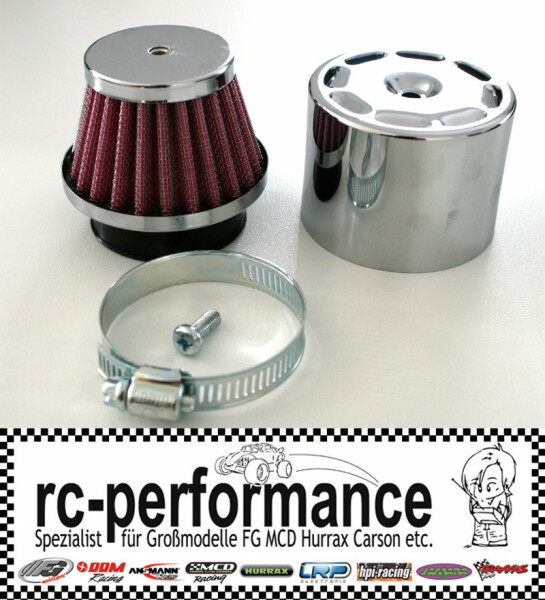 Racing Luftfilter incl. Chrom Hülse FG CF Hurrax HPI FS MCD Carson Tuning Filter
