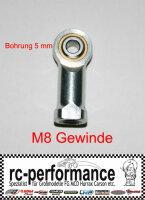 Stahlkugelgelenk M8 5mm Bohrung FG Marder links Gewinde...