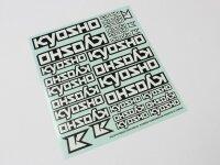 Kyosho Dekorbogen Weiss 29 Stk. Logo 235x210mm Sticker...